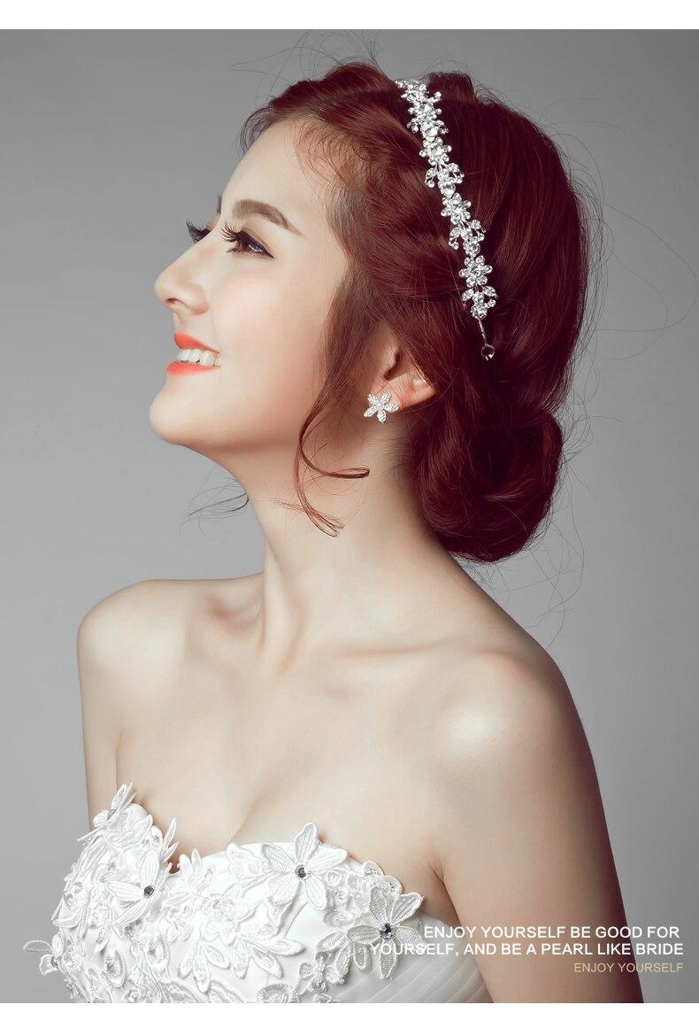 Flor de Strass Cristais Cadeia Fita Hairbands Headband Mulheres Acessórios de Cabelo Jóias Nupcial Do Casamento Headpiece GX016
