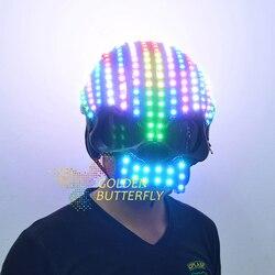 Шлем с LED подсветкой, цветной яркий свет шлем от насекомых с батареей светодиодный светящийся вечерние DJ маска робота бизнес аксессуары