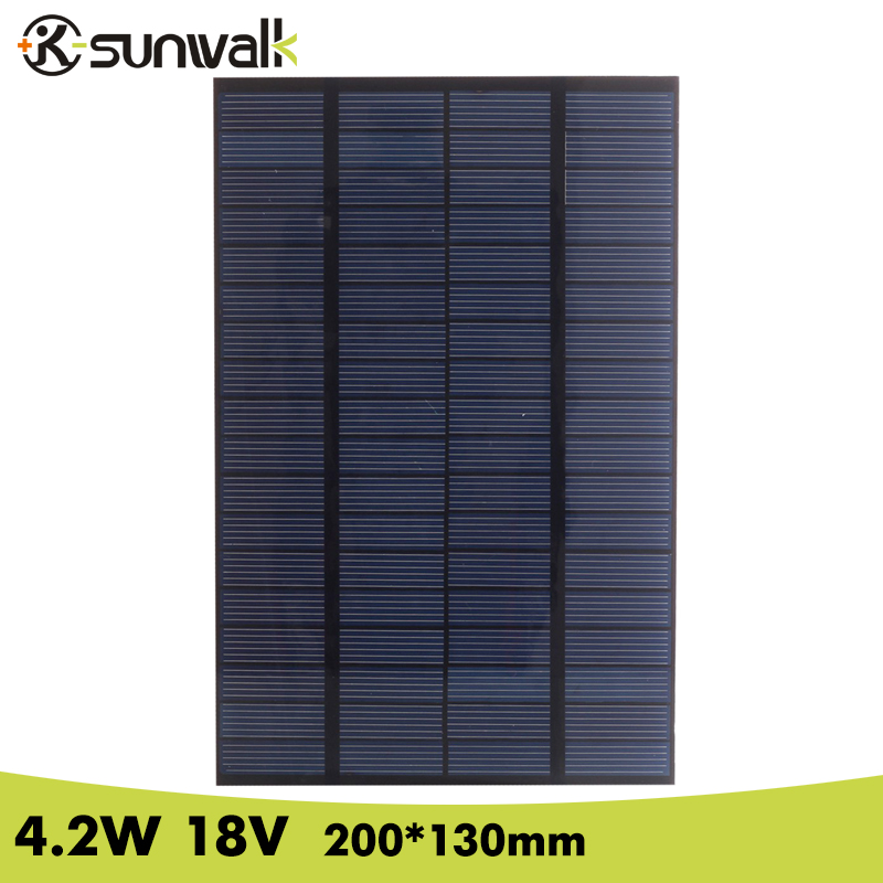SUNWALK 4.2W 18V Polycrystalline Solar Panel Cell PET Mini Solar Panel Module for DIY Charger DC Battery System 200*130mm 35w 18v polycrystalline solar panel module with special technology high efficiency long lifecycle fend against snowstorm