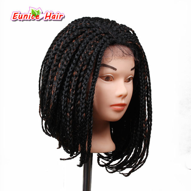 5 Colors Available Beauty 14 16inch Box Braid Bob Wig With Baby Hair Braided Synthetic Lace Front Wigs For Black Women