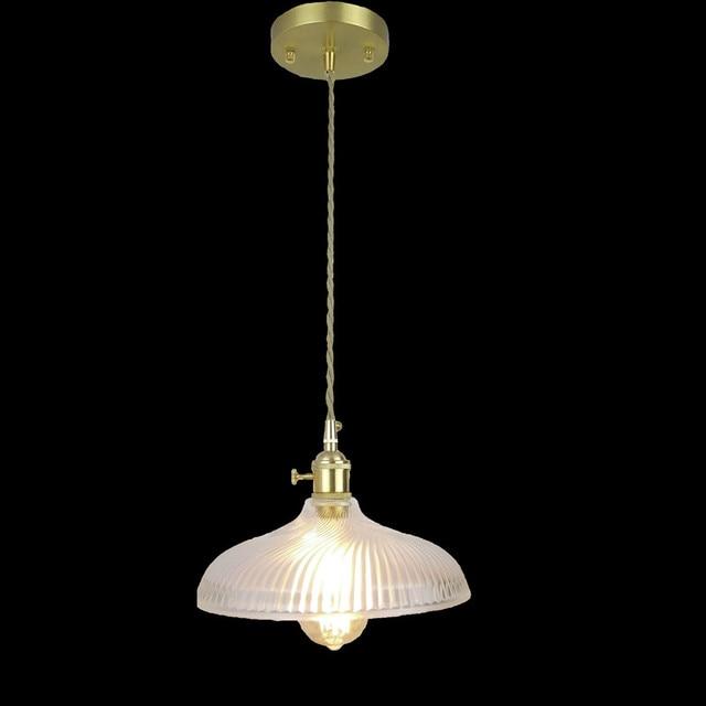 E27 All brass glass hanging light 100% pure copper material pendant ...