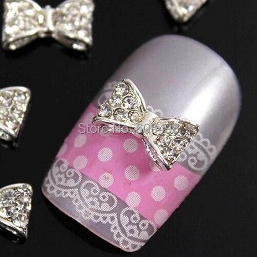 B302 50 шт./лот ногтей металл серебро 3 D сплава прозрачный кристалл алмаза бантом галстук-бабочка yakeli салон ногтей быстрое оформление