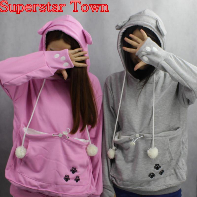 Cat lovers bluzy z cuddle etui dog pet bluzy dla kangura dorywczo swetry z uszy bluza 4xl drop shipping 4