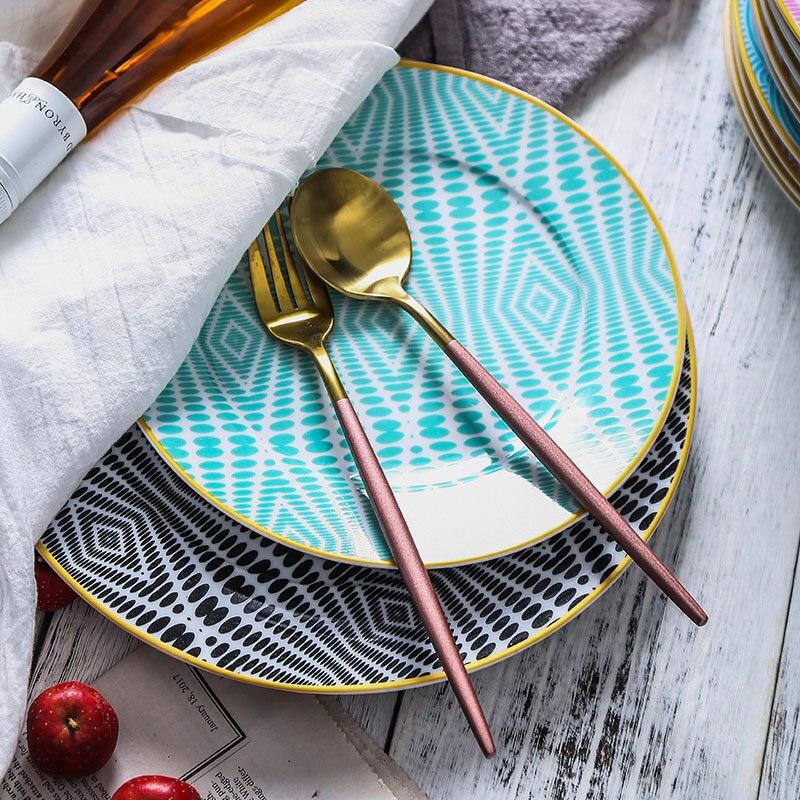 4 pièces vaisselle Phnom Penh géométrie colorée vaisselle 8/10 pouces en céramique assiette à dîner plat porcelaine Dessert assiette vaisselle gâteau