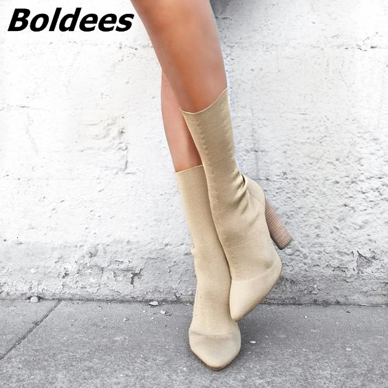 New Beige Black Stretch Knit Women Short Boots Kim Kardashian Street Style Block Heels Ankle Boots High Heel Shoes Women Boots 2018 sexy women thigh high knit boots stretch fabric kim kardashian sock bootie chunky high heel women elastic desert boots