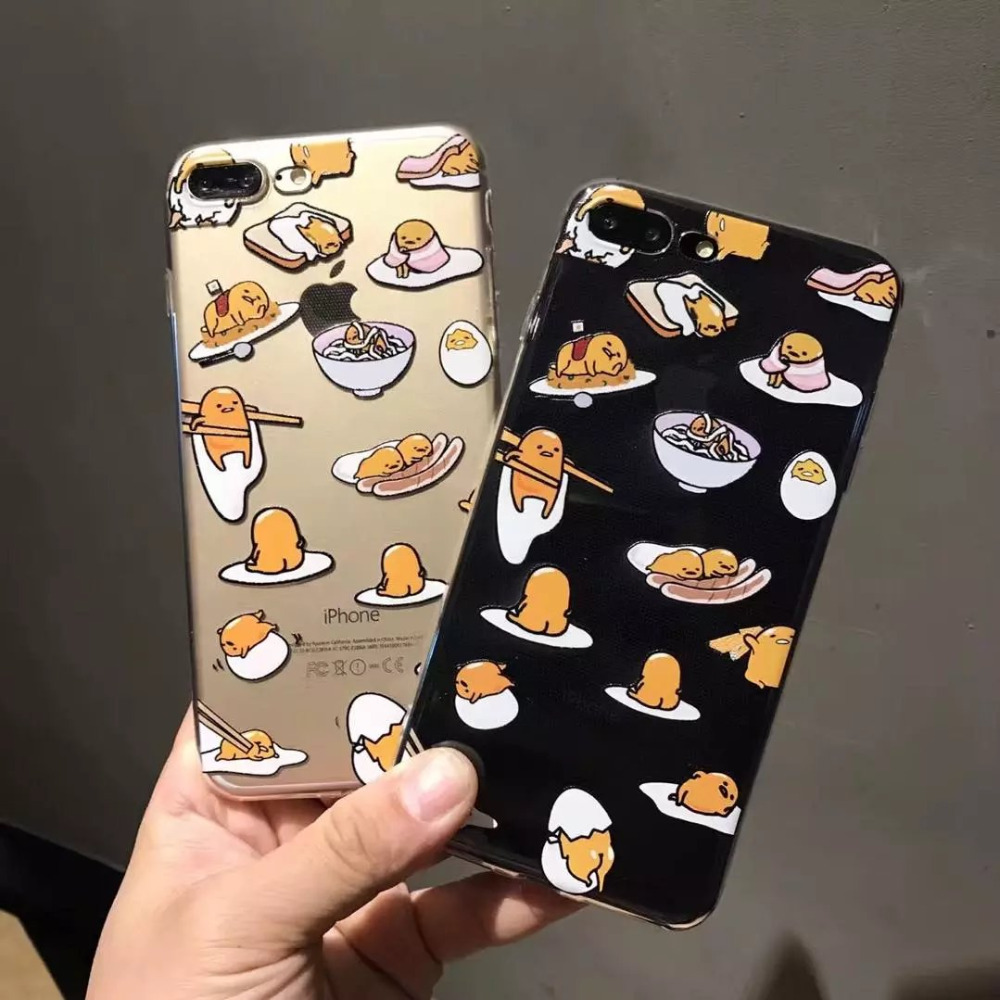 size 40 3cbd3 deaff Lovely Gudetama Egg Case For iphone 7 Case Fashion Clear Soft TPU Phone  Cases Funny Cartoon Back Cover For iphone 6 6S 7 PLus