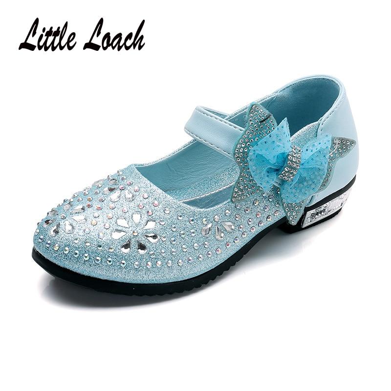Enfants Bébé Fille Strass Princesse Robe de Soirée Chaussures De Danse Cuir Mocassins US