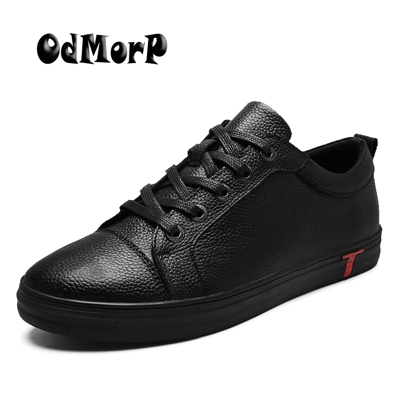 ODMORP Mens Black Leather Shoes Lace Up Business Men Shoes Big Size 38-48 Comfortable Spring New Design Casual Shoes For Men
