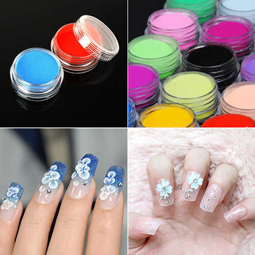 12 gemengde Kleuren Acryl Nail Art polish Tips UV Gel Powder Dust 3D DIY Decoratie Set Nail Art & Gereedschap schilderen Nail Accesorios