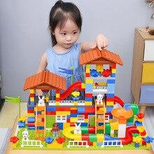 لتقوم بها بنفسك الملونة مدينة منزل سقف كبير الجسيمات كتل بناء القلعة متوافق Duploe الطوب الإبداعي لعب للأطفال هدايا الاطفال