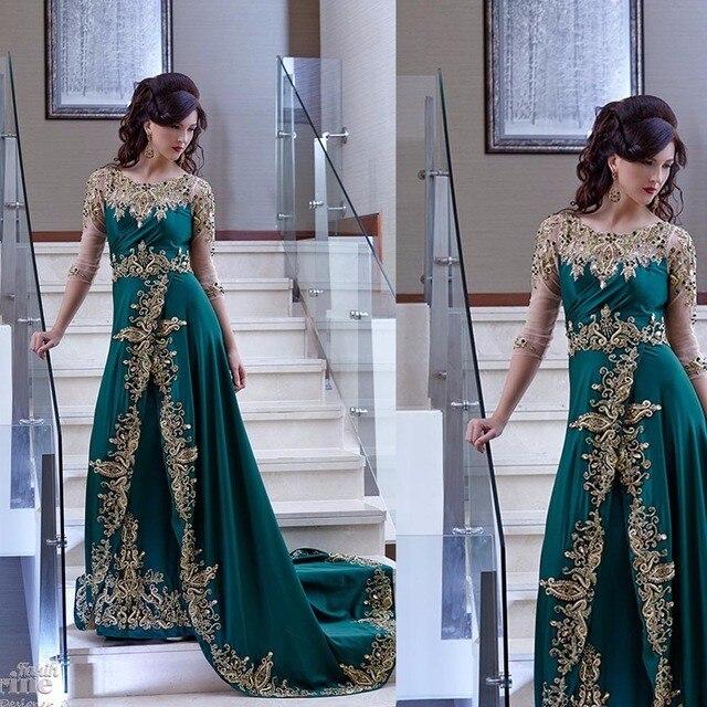 Саудитски арабски вечерни рокли дантела апликация дълъг ръкав елегантен Дубай вечерна рокля 2017 роба де вечер майка на булката рокли