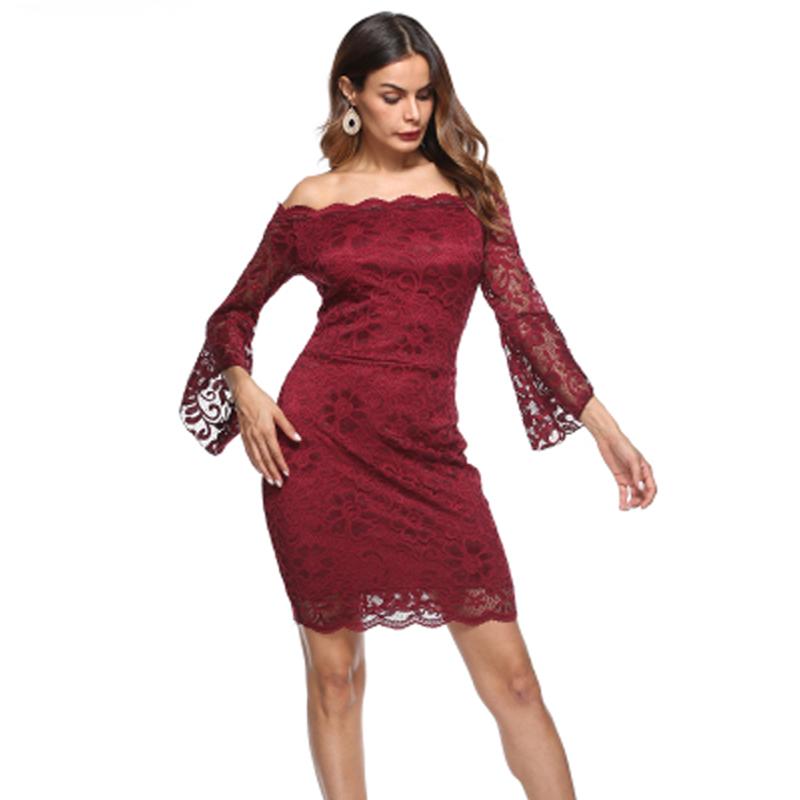 beda564169b SORCHIDF 2018 Для женщин кружевное платье миди пикантные с открытыми  плечами платье с открытой спиной сладкая принцесса элегантные вечерние  Высокая Талия ...