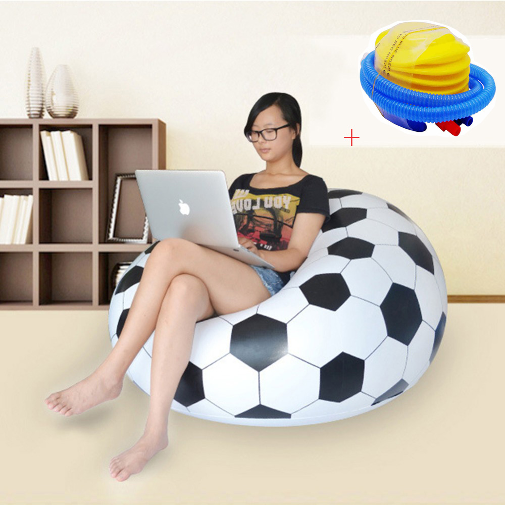 Fashion Inflatable Sofa Air Soccar Football Self Bean Bag Chair Portable Outdoor Garden Sofa Living Room Furniture Corner Sofa large oversized air inflatable bean bag chair 109 218 66cm pure black foldable sofa couch and beds