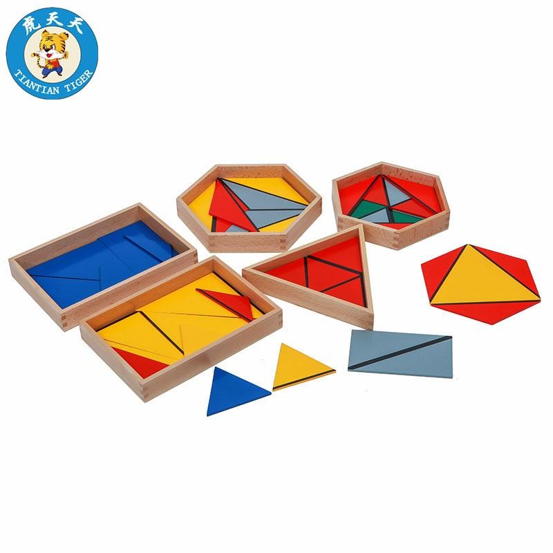 Montessori aides pédagogiques maternelle enfants jouets éducatifs en bois éducation préscolaire Triangles constructifs avec 5 boîtes