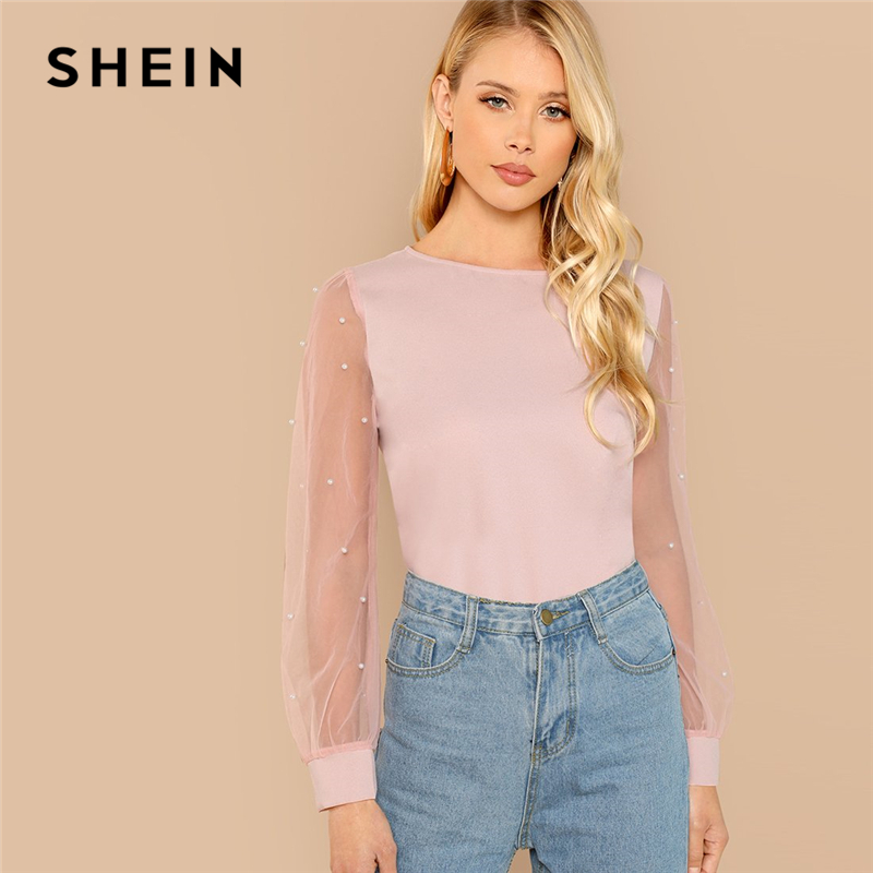 SHEIN Pink Modern Lady Elegant Pearl Beaded Round Neck Mesh Sleeve Top Women Autumn Solid Weekend Casual Minimalist Blouses