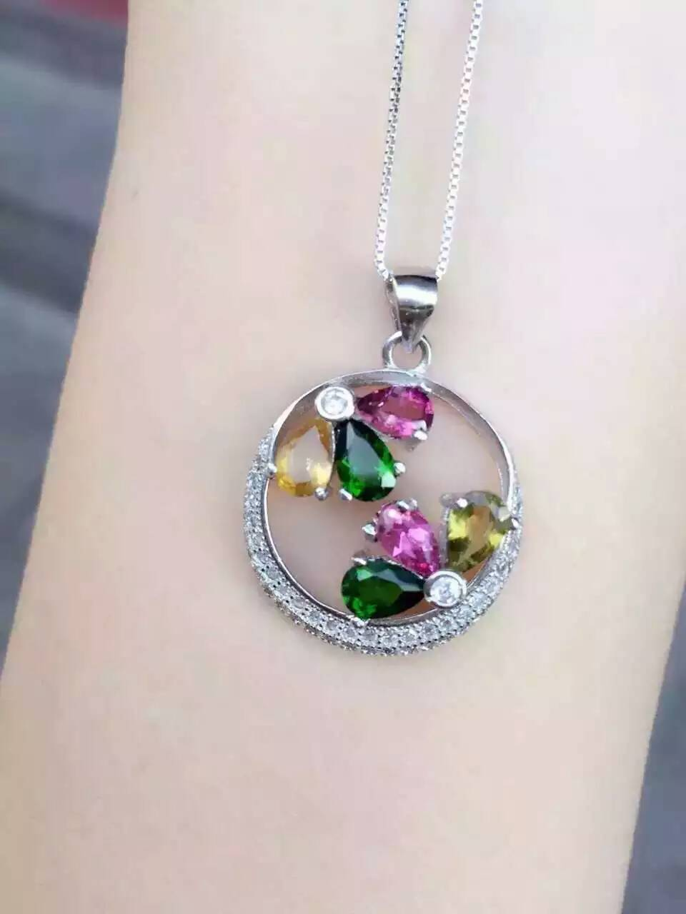 natural multicolor tourmaline pendant S925 silver Natural diopside crystal Pendant Necklace trendy Elegant round women jewelry цена 2017