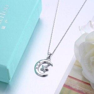 Image 5 - Мусульманское ожерелье с подвеской в виде полумесяца из стерлингового серебра 925 пробы с кубическим цирконием, ожерелье с Луной и звездой, ювелирные изделия для женщин