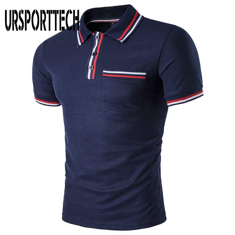 URSPORTTECH 2019 Solid Color Summer   Polo   Shirts Men Short Sleeve Breathable Anti-Pilling Brand   Polos   para hombre Plus Size S-XXL