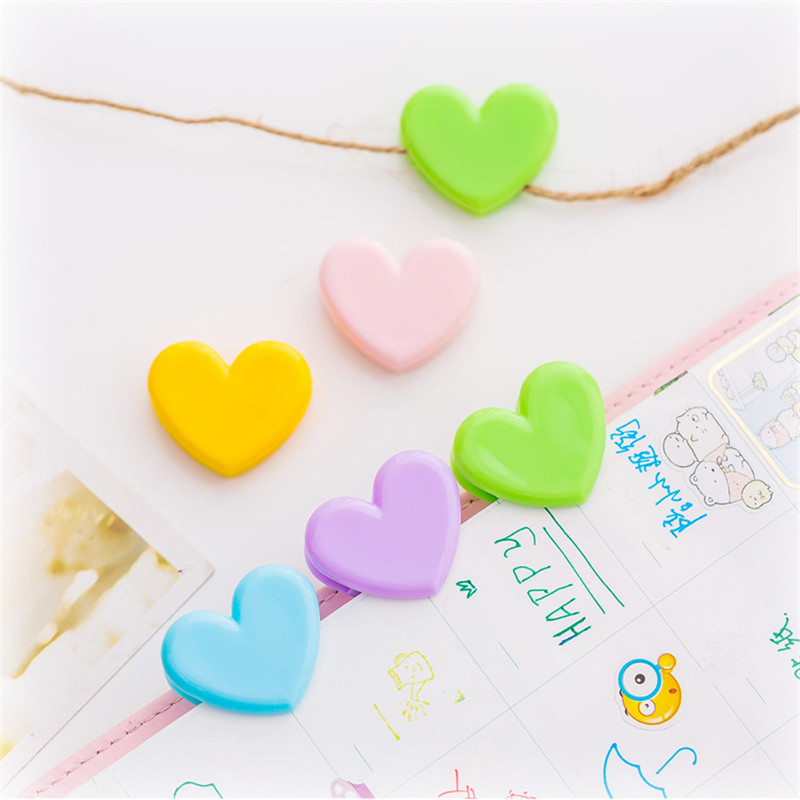 5pcs Fashion Candy Color Plastic Heart Clip Photo Book Mark Folder Clips Home Office School Supplies Student Stationery Bookmark