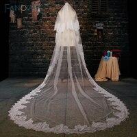 Trắng Tulle Nhà Thờ Train Wedding Veil 2016 Ren Đính Hai-layer Dài Bridal Mạng Che Mặt Phụ Kiện Đám Cưới