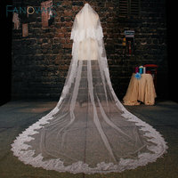White Tulle Cathedral Train Wedding Veil 2019 Lace Applique Two layer Long Bridal Veils Wedding Accessories Bridal Head Veil