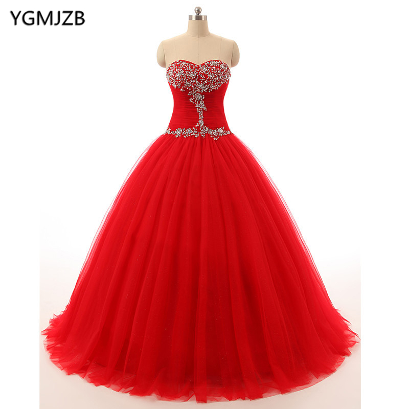 Rouge violet Quinceanera robes 2018 robe De bal robe De bal perlée cristal Vestidos De 15 Anos doux 16 robe Debutante robes