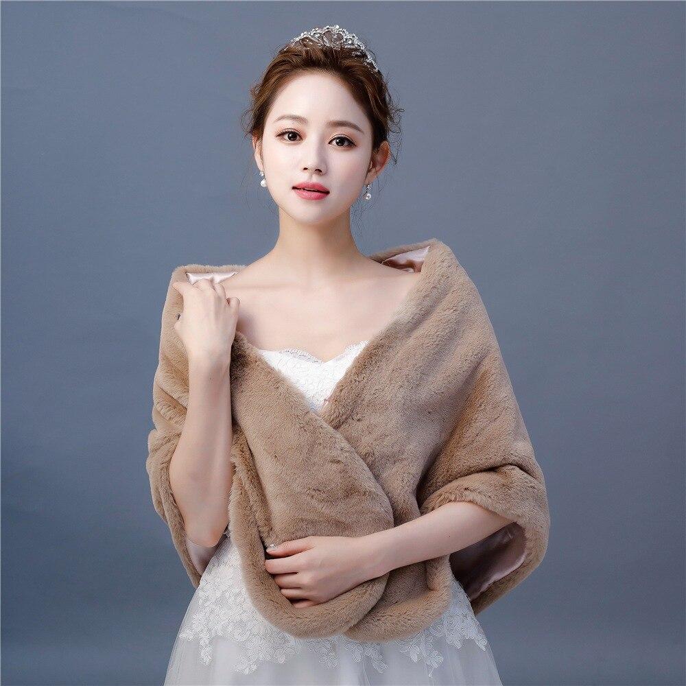 New Fashion Warm Wrap Faux Fur Large Shawls Bridal Wedding Dress Cover Up Stole Accessories Women Winter Fur Shrug Handmade