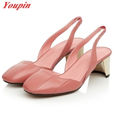 Latest Natural leather Square Toe Elastic band Non slip soles Shallow mouth Women shoes Hot New