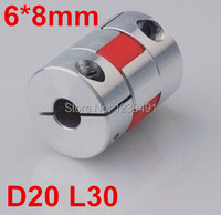 4pcs 6mm X 8mm D20 L25 Aluminium Polyurethane Plum Shaped Clamping Flexible Coupling Shaft Coupler Encoder
