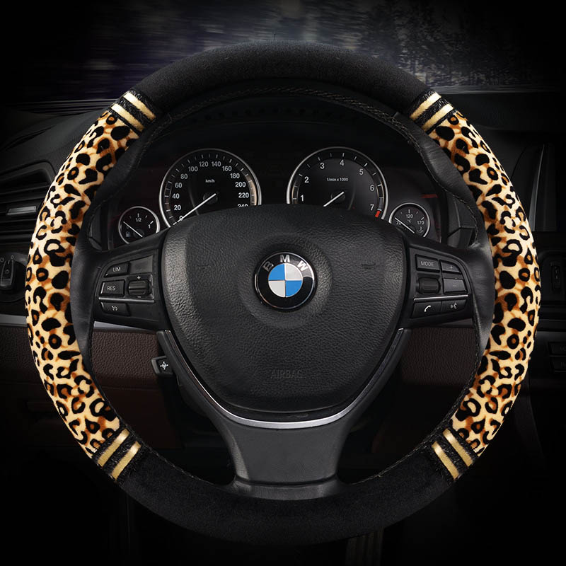 Winter Plush Car Steering Wheel Covers Leopard Grain Steering Wheels Cases Universal Size 38cm Sport Auto