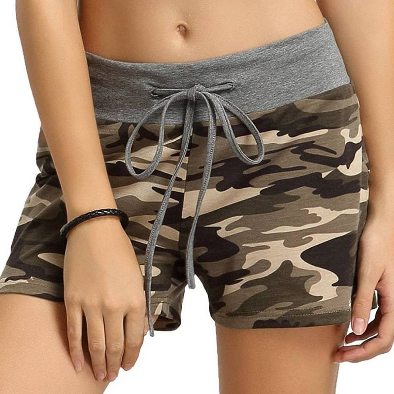 New Women's Large Size Camouflage Printed Elastic Lacing Waist Wide Leg Short Casual Breathable Quick-drying Shorts