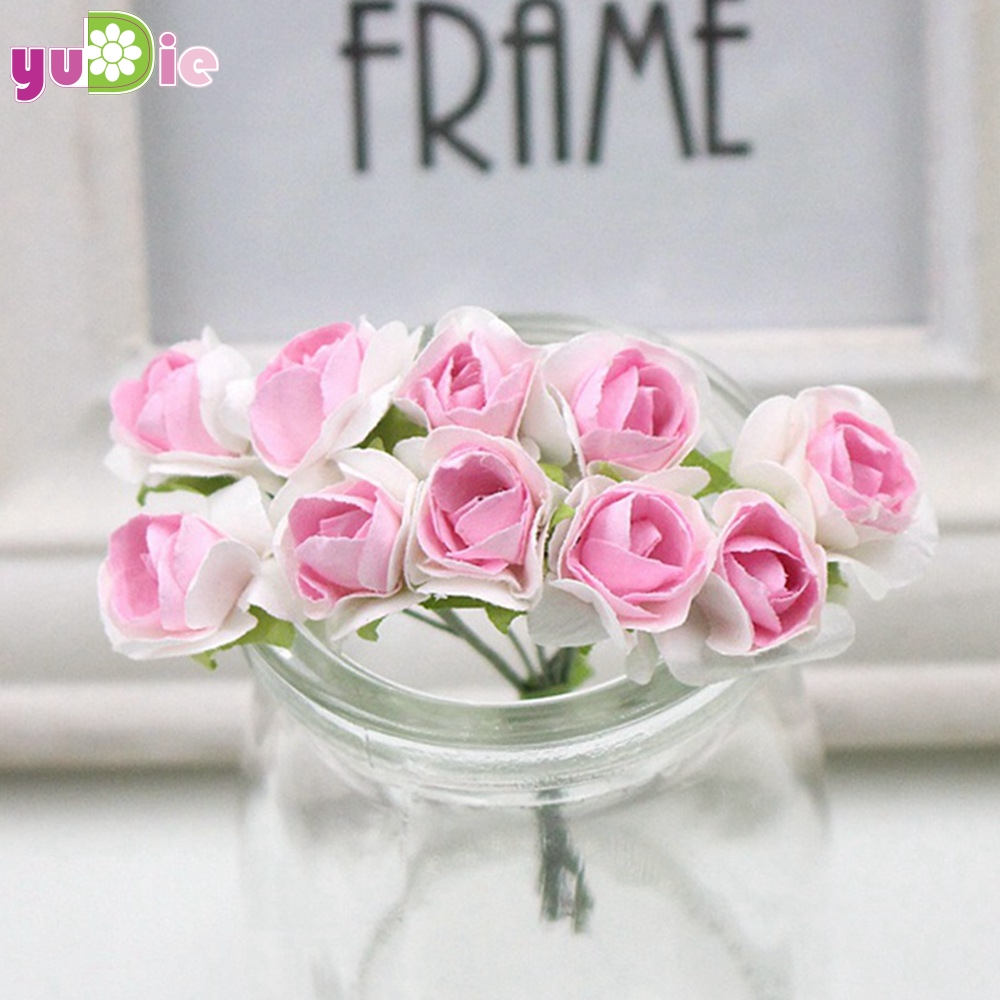 10pcs mini miniature rose paper flower 1cm artificial flower wedding 10pcs mini miniature rose paper flower 1cm artificial flower wedding decoration diy wreath scrapbooking craft fake flowers in artificial dried flowers mightylinksfo