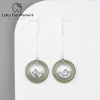 Lotus Fun Moment Real 925 Sterling Silver Fashion Jewelry Classic Oriental Element Mountain Design Drop Earrings for Women