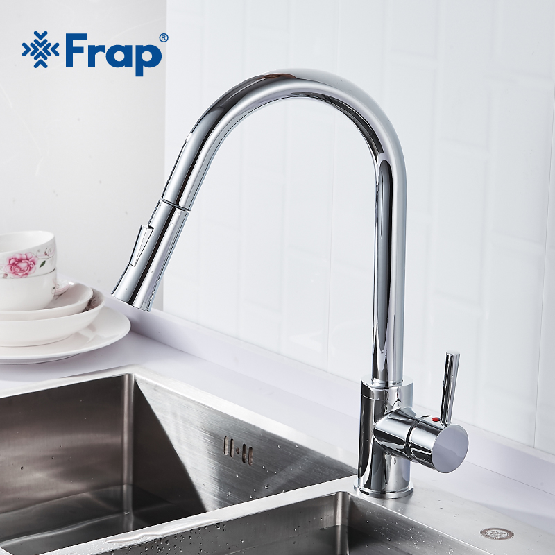 Frap Modern Simplicity Kitchen Faucet Brass Pull Out Single Handle Chrome Two Ways Water Outlet Spray Water Saving Tap Y40075Frap Modern Simplicity Kitchen Faucet Brass Pull Out Single Handle Chrome Two Ways Water Outlet Spray Water Saving Tap Y40075