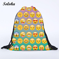 2016 New Fashion Women Emoji Backpack 3D Printing Travel Softback Women Drawstring Bag Hot Mens Womens Backpacks