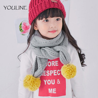 YOULINE Crochet Children Scarf Wool Knitted Winter Scarves With Detachable Real Raccoon Fur Pom Poms Neck