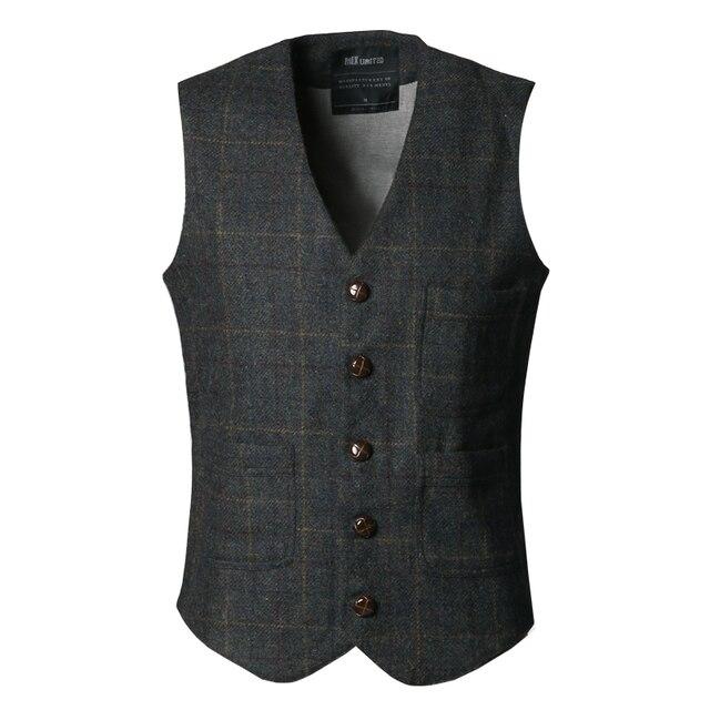 Vintage tweed colete coletes elegantes para homens single-breasted ocasional outono fino terno xadrez colete dos homens de alta moda moda masculina