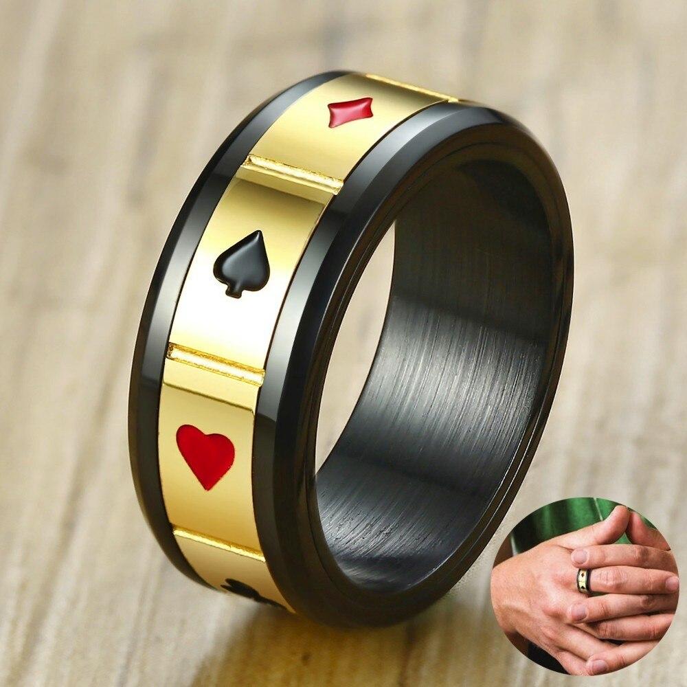 Mens Noir Poker Jeu Spinner Anneau en Acier Inoxydable Deux Tons De Mariage Bande de Lucky Pokerstars Mâle Bijoux