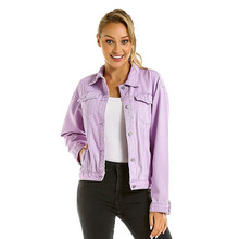 Jeans Jacket Women Fashion Oversized Long Sleeve Denim Jackets Casual Single Breasted Pockets Coat Female purple bomber jacket цена 2017