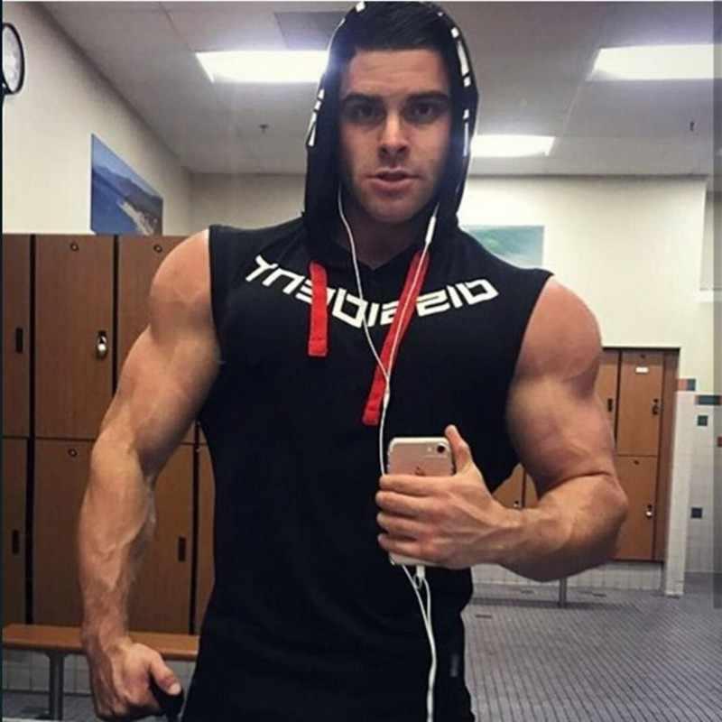 Muscleguys 브랜드 체육관 의류 피트니스 남성 탱크 탑 후드 망 보디 빌딩 스트링거 탱크 탑 운동 싱글 렛 민소매 셔츠