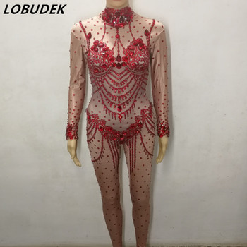 Sexy Nude Red Black Glass Diamond Jumpsuit Stretch Skinny Bodysuit Female Nightclub Clothing Bar DJ Singer Pole Dancing Costumes