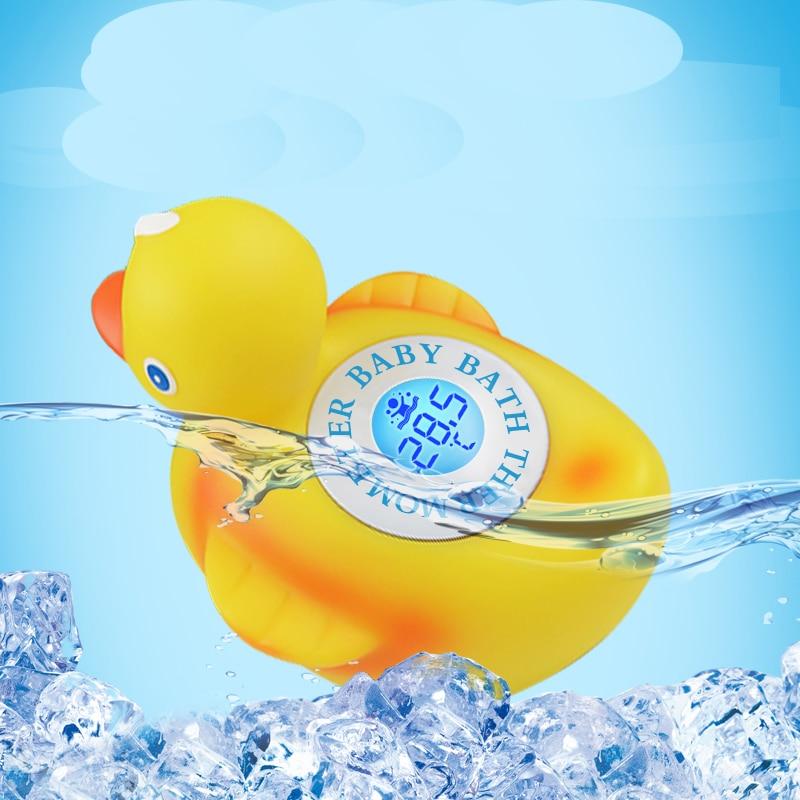 Купить с кэшбэком Floating Little Yellow Duck Baby Bath Tub Soft PVC Plastic Toy with Temperature Display