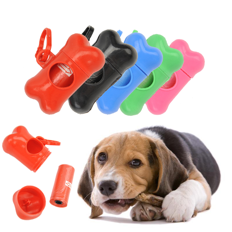 Pet Dog Poop Bag Dispenser Bone Shape Waste Garbage Carrier Holder Dispensers Dog Waste Poop Bags Set Pets Trash Cleaning Tools