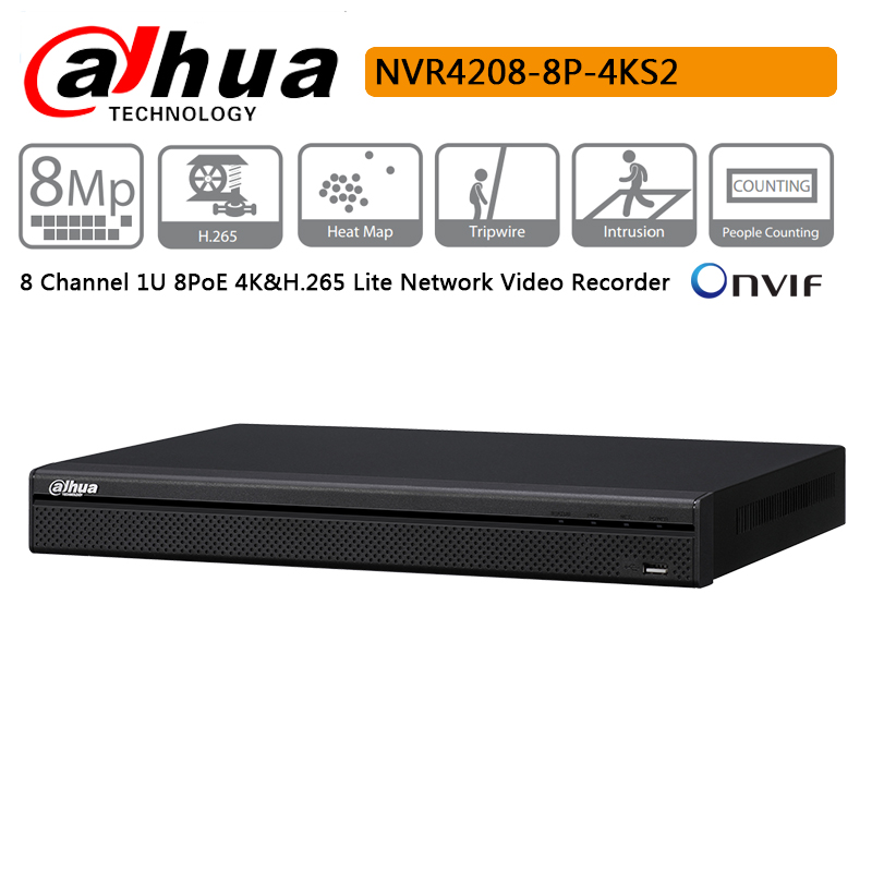 Original Dahua NVR4208 8P 4KS2 8 Channel 1U 8PoE 4K H 265 Lite Network Video Recorder