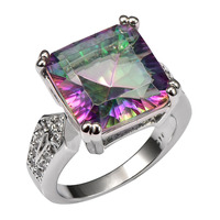 Huge Rose Rainbow Crystal Zircon925 Sterling Silver Ring Factory Price For Women and Men Size 6 7 8 9 10 11 F1518