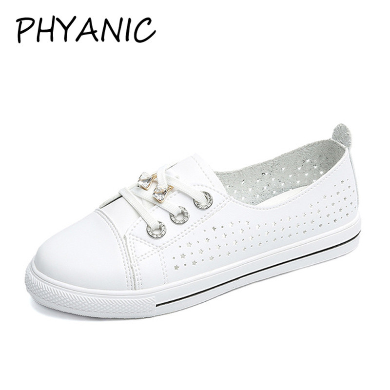 PHYANIC Leather Women's Flat Shoes Women Soft Breathable Sneakers Black White Lace Up Woman Casual Flats Female Footwear CWJ3193 glowing sneakers usb charging shoes lights up colorful led kids luminous sneakers glowing sneakers black led shoes for boys