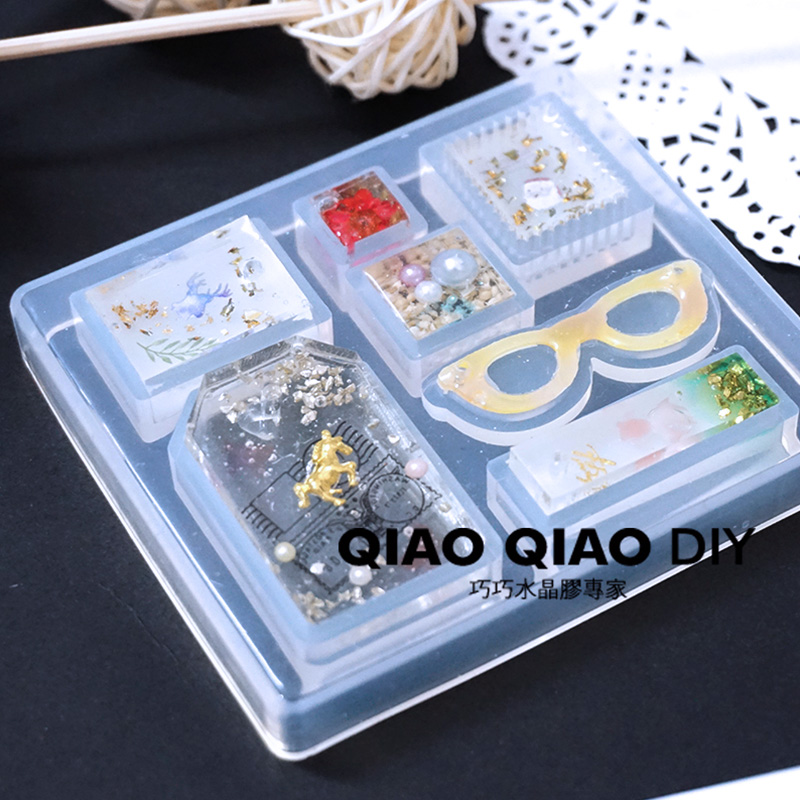 1PC Glasses Pendant Craft DIY Transparent UV Resin epoxy  Silicone Combination Molds for Making Finding Accessories Jewelry