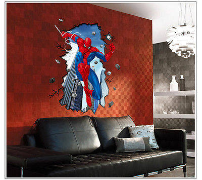 Ordinaire 3D Spiderman Wall Stickers For Kids, Removable Wall Decal Cartoon Movie  Posters Home Decoration Spider Man Wall Art Paper