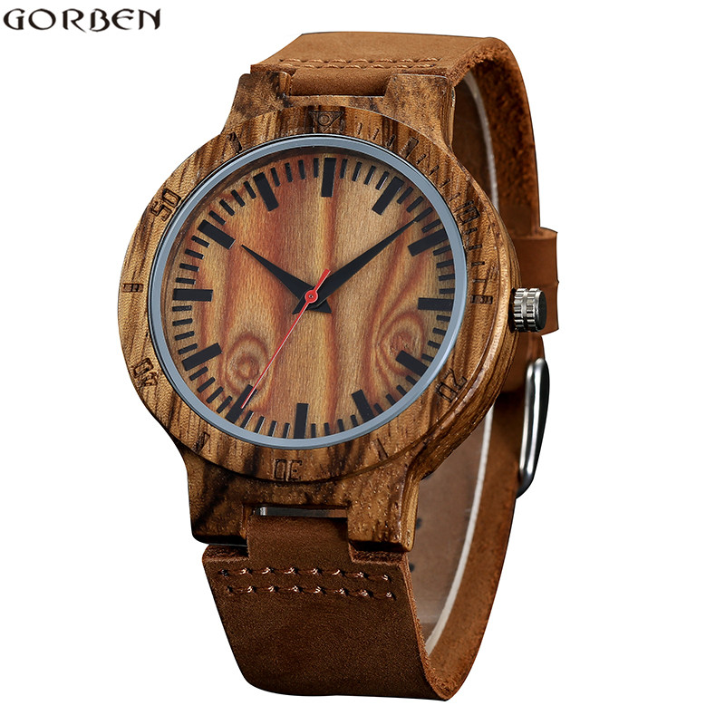GORBEN Top Fashion Carving Wood Watches For Men Brown Leather Band Quartz Wristwatches Natural Bamboo Wooden Watches Mens Clock simple watches men leather fashion male casual wooden women quartz watch natural handmade bamboo wristwatches clock 2017 analog