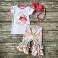 De los bebés conejo de pascua diseño ropa niñas niños boutique de ropa de fiesta volantes algodón capri atuendo con accesorios a juego
